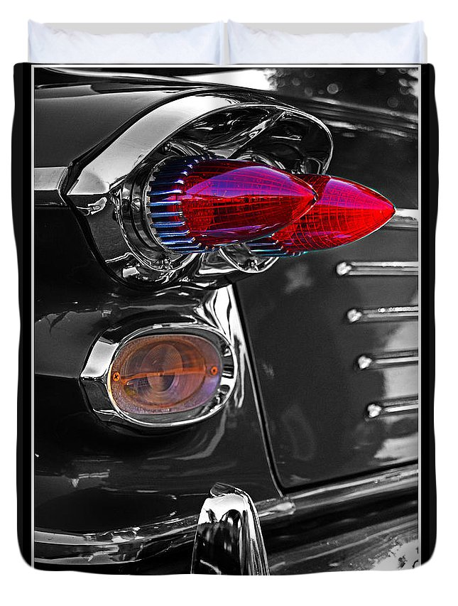 Tail Lights Duvet Cover featuring the photograph Red Tail Lights by Randy Harris