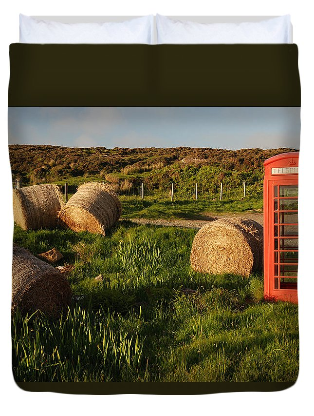 Scotland Isle Of Skye Hay Haybales Bales Red Telephone Booth Rural Landscape Scene Scenic Scenery Kilaumuag Inner Hebrides Duvet Cover featuring the photograph Red Telephone Booth by Chlaus Loetscher
