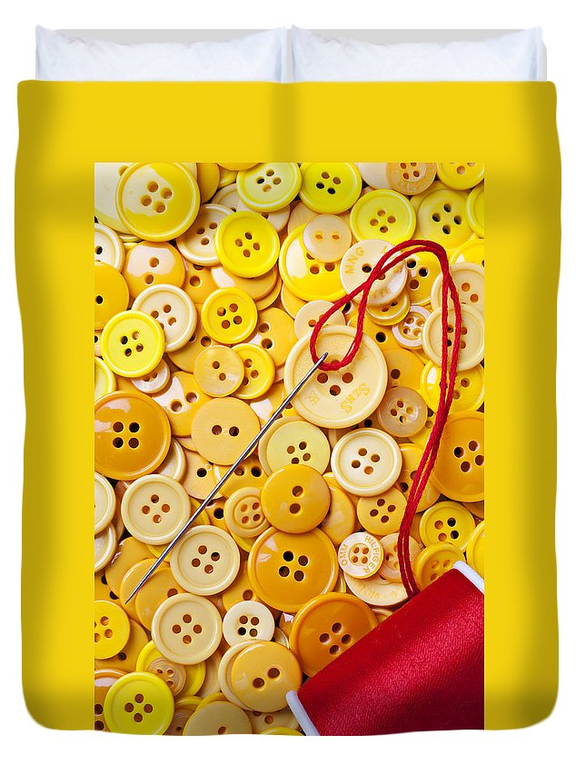 Red Thread Duvet Cover featuring the photograph Red Thread And Yellow Buttons by Garry Gay