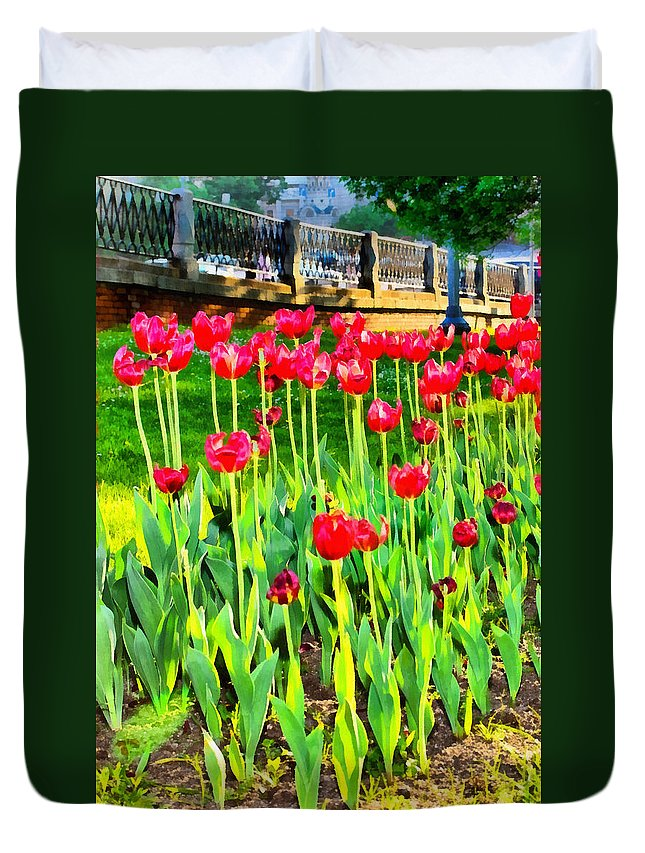 Art Duvet Cover featuring the photograph Red Tulips by Michael Goyberg