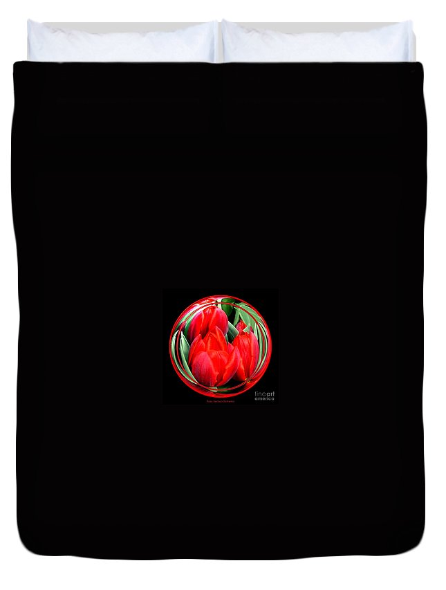 Red Tulips Duvet Cover featuring the photograph Red Tulips Under Glass by Rose Santuci-Sofranko