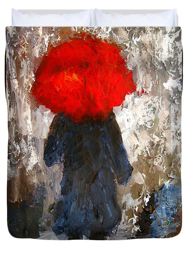 Umbrella Duvet Cover featuring the painting Red Umbrella Under The Rain by Patricia Awapara