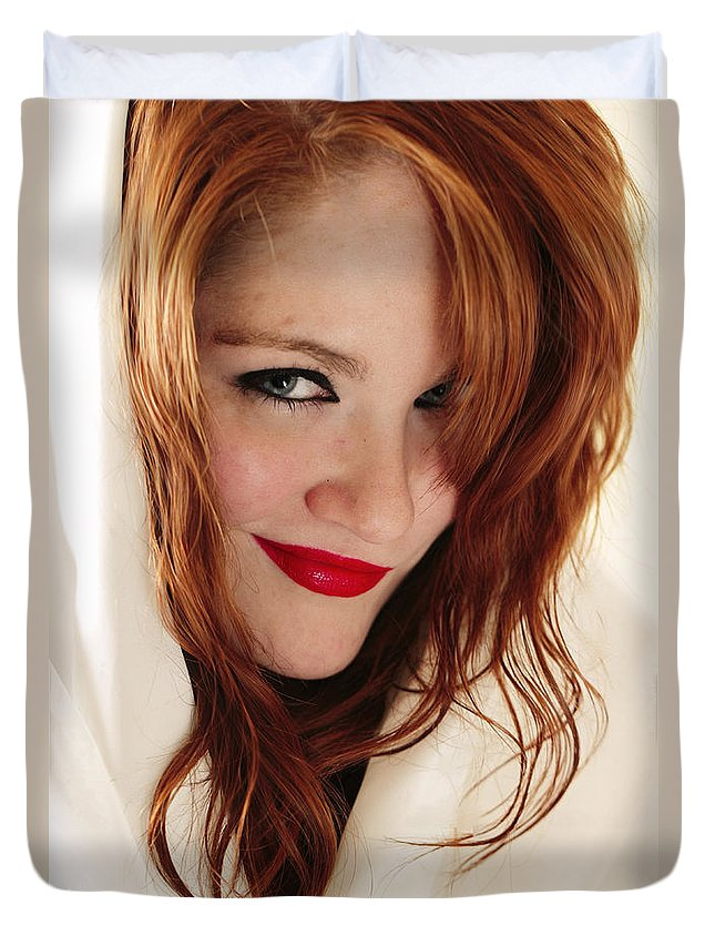 Model Duvet Cover featuring the photograph Red White And Blue by Rick Berk