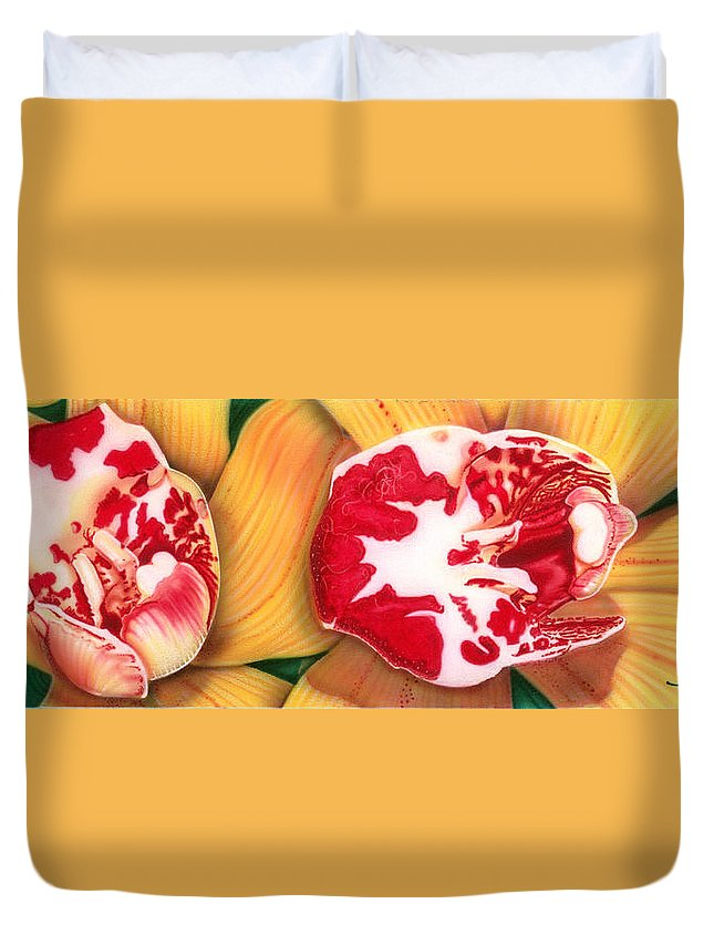 Flowers/orchids/yellow/white/red/ Duvet Cover featuring the painting Red White And Yellow by Dan Menta