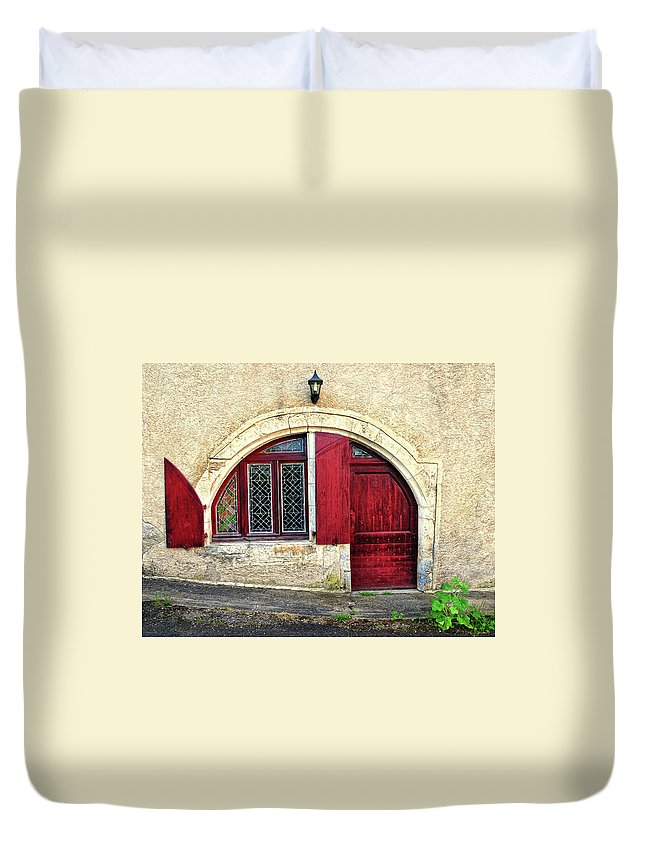 Red Door Duvet Cover featuring the photograph Red Windows And Door Provence France by Dave Mills