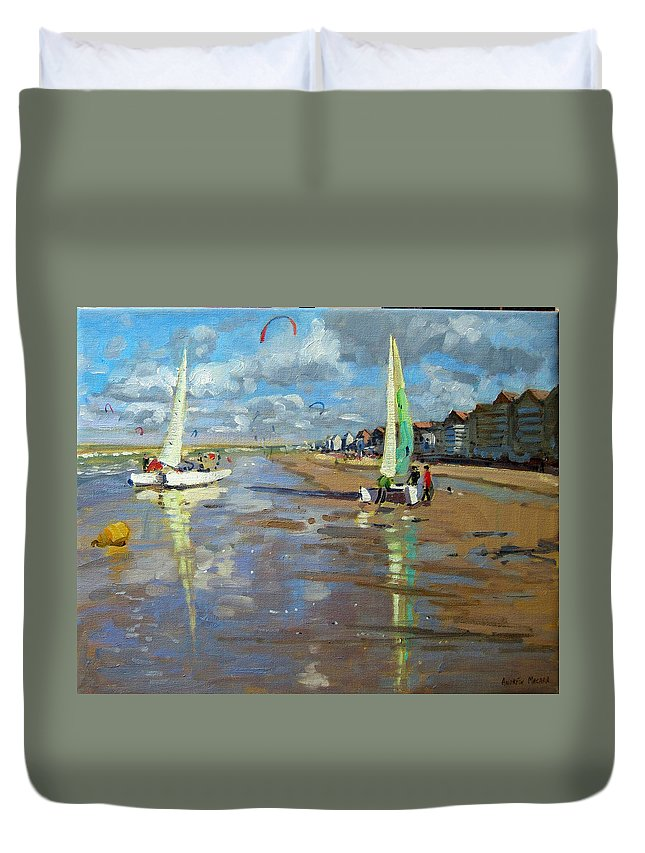 Seaside Duvet Cover featuring the painting Reflection by Andrew Macara