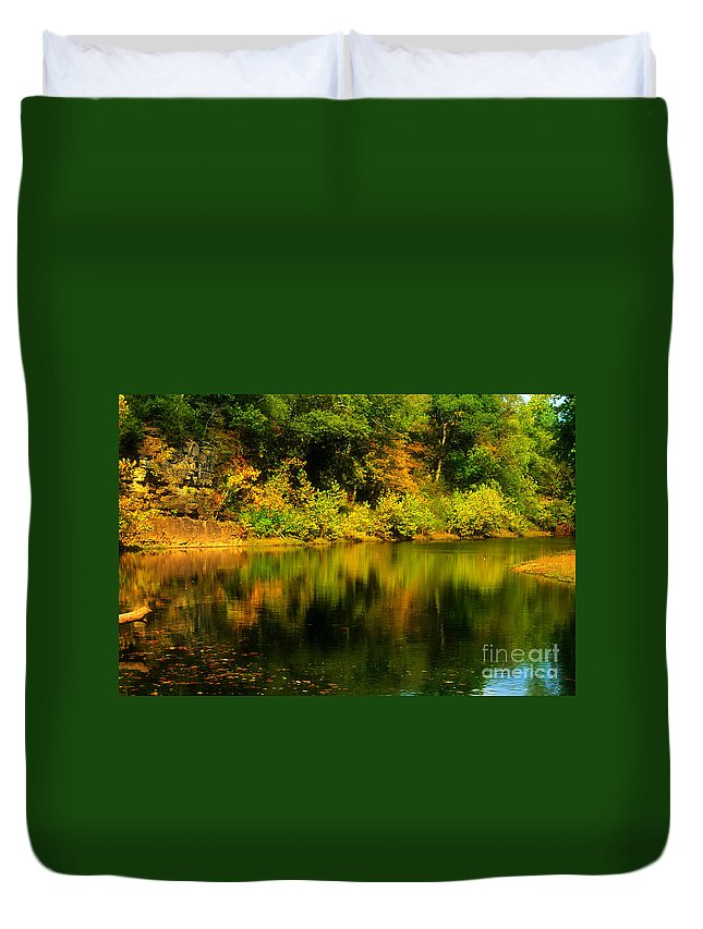 Landscape Duvet Cover featuring the photograph Reflection Of Autumn Colors by Peggy Franz