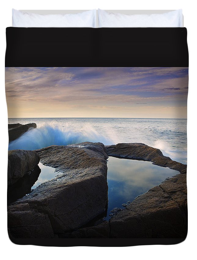 Acadia Photographs Duvet Cover featuring the photograph Reflections In Monument Cove by Rick Berk
