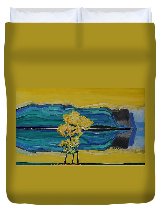 Duvet Cover featuring the painting Reflections In Water by Jarle Rosseland