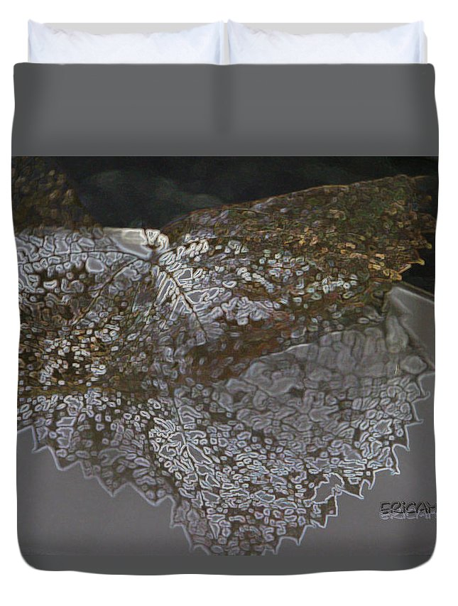 Leaf Duvet Cover featuring the photograph Reflections Of A Lacy Leaf by Ericamaxine Price