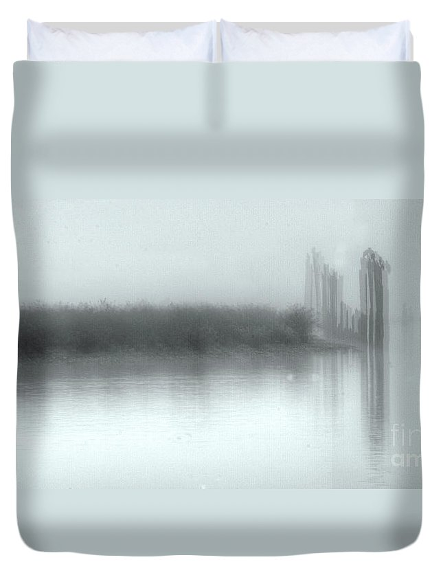 Fog Duvet Cover featuring the photograph Reflections Through The Fog by Rod Wiens