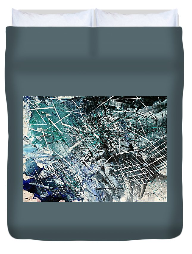 Abstract Art Duvet Cover featuring the painting Regency by Kathy Sheeran