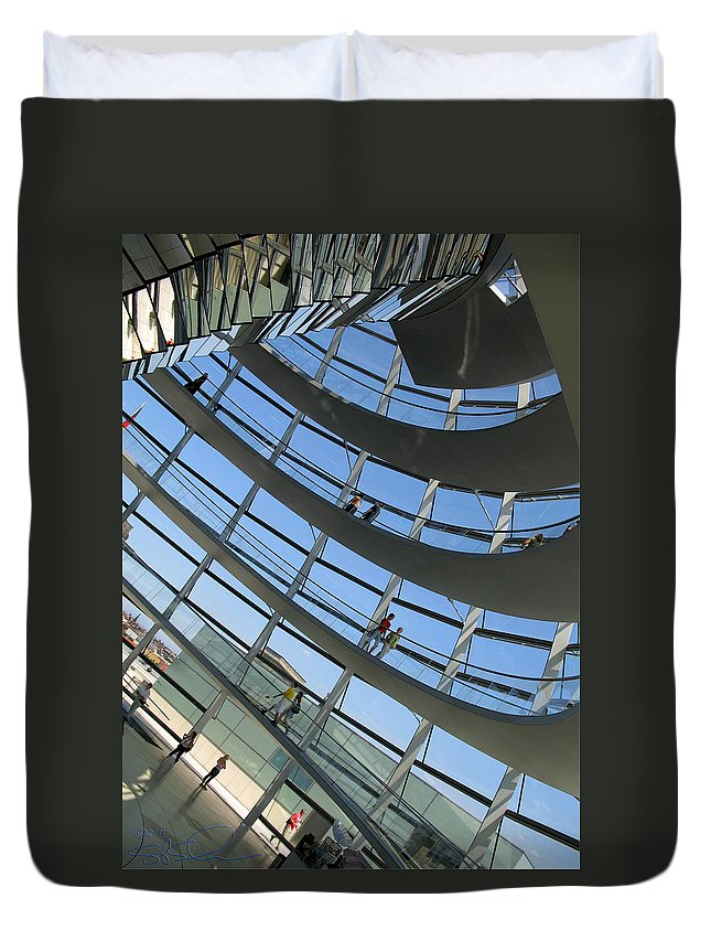 Travel Duvet Cover featuring the photograph Reichstag Dome by S Paul Sahm