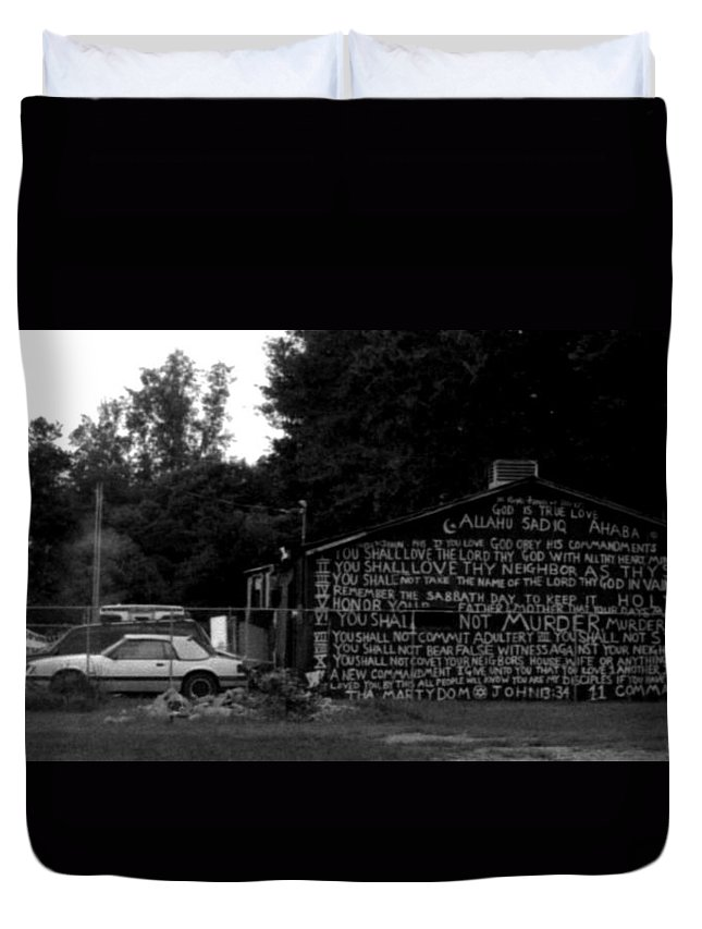 Louisiana Duvet Cover featuring the photograph Religious Rant by Doug Duffey