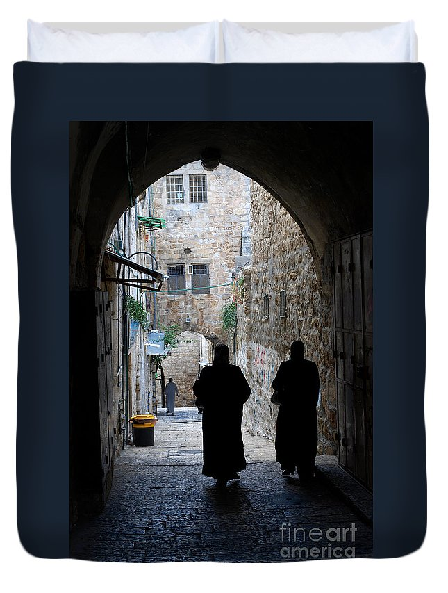 Meimei888 Duvet Cover featuring the digital art Residents Of Jerusalem Old City by Eva Kaufman