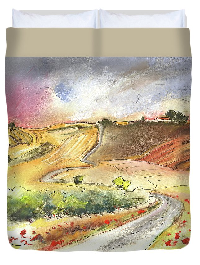 Spain Duvet Cover featuring the painting Ribera Del Duero In Spain 11 by Miki De Goodaboom