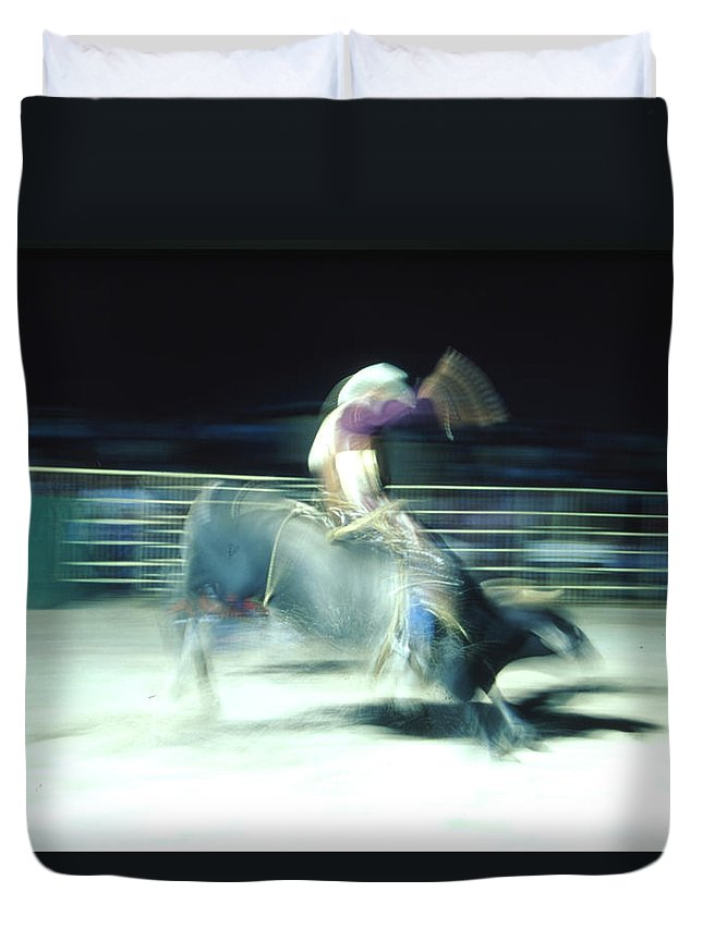 Rodeo Duvet Cover featuring the photograph Ride Him Cowboy by Robert Caddy