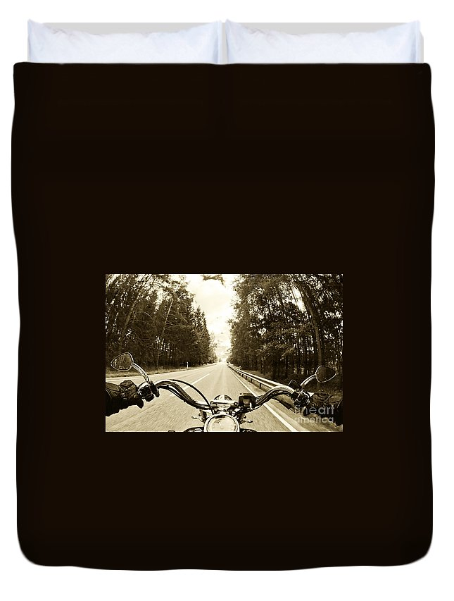 Harley Duvet Cover featuring the photograph Riders Eye Veiw In Sepia by Micah May