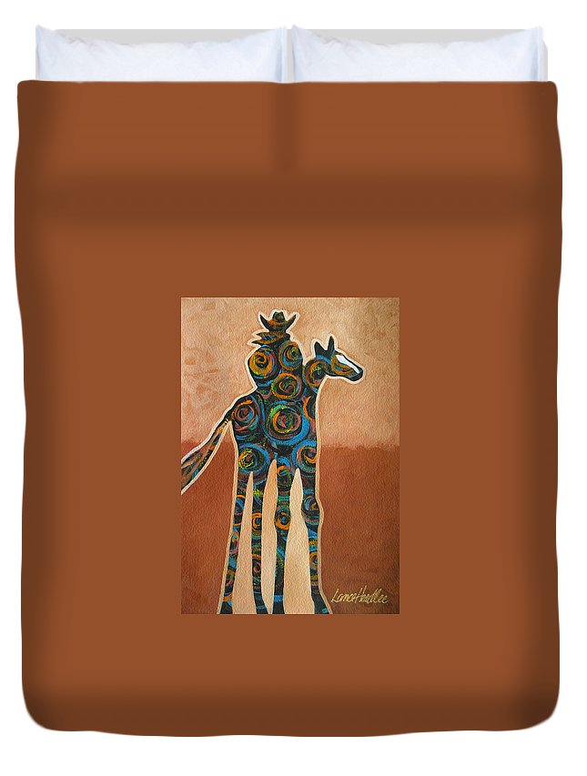 Contemporary Duvet Cover featuring the painting Riding In Circles by Lance Headlee
