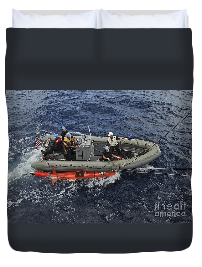 Aerial Drone Duvet Cover featuring the photograph Rigid-hull Inflatable Boat Operators by Stocktrek Images