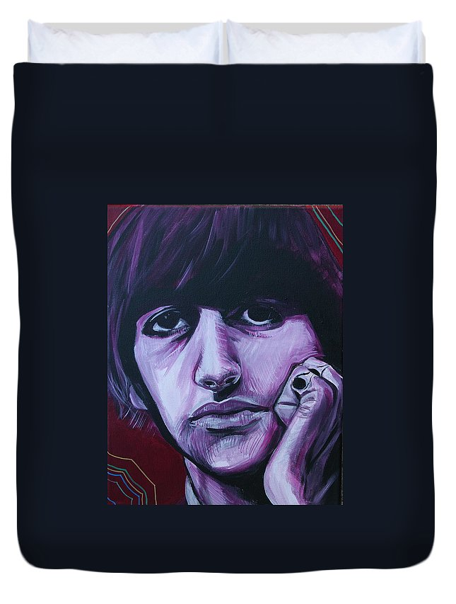 Beatles Duvet Cover featuring the painting Ringo Star by Kate Fortin