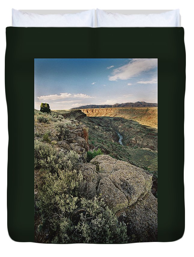 Taos Duvet Cover featuring the photograph Rio Grande Gorge Above Taos Junction Bridge by Ron Weathers