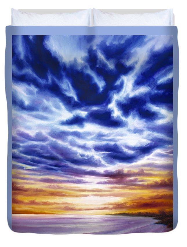 Sunrise; Sunset; Power; Glory; Cloudscape; Skyscape; Purple; Red; Blue; Stunning; Landscape; James C. Hill; James Christopher Hill; Jameshillgallery.com; Ocean; Lakes; Sky; Contemporary; Yellow; Ocean; River; Water Duvet Cover featuring the painting Rise by James Christopher Hill