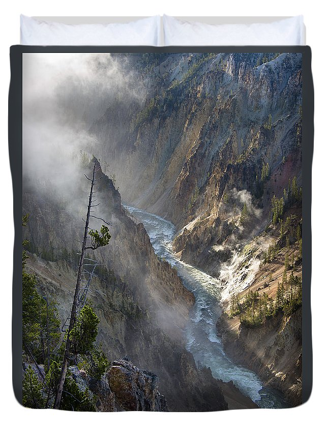 Rockies Duvet Cover featuring the photograph Rising Mists From Grand Canyon Of The Yellowstone by Greg Nyquist