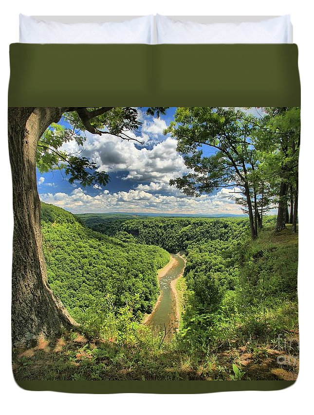 Letchworth State Park Duvet Cover featuring the photograph River In The Valley by Adam Jewell