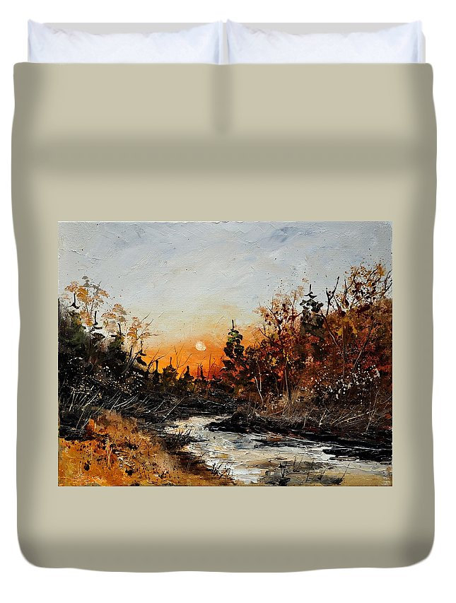 Landscape Duvet Cover featuring the painting River Lesse 451111 by Pol Ledent