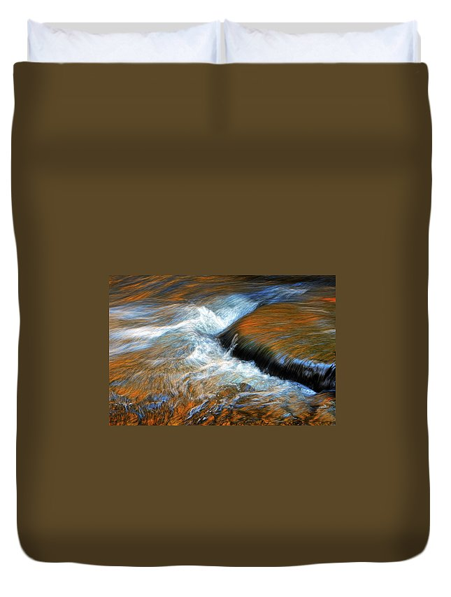 River Duvet Cover featuring the photograph River Of Fire by Dave Mills