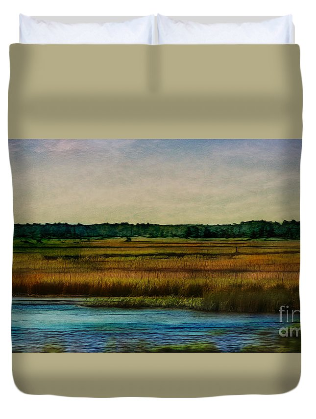 Texture Duvet Cover featuring the photograph River Of Grass by Judi Bagwell