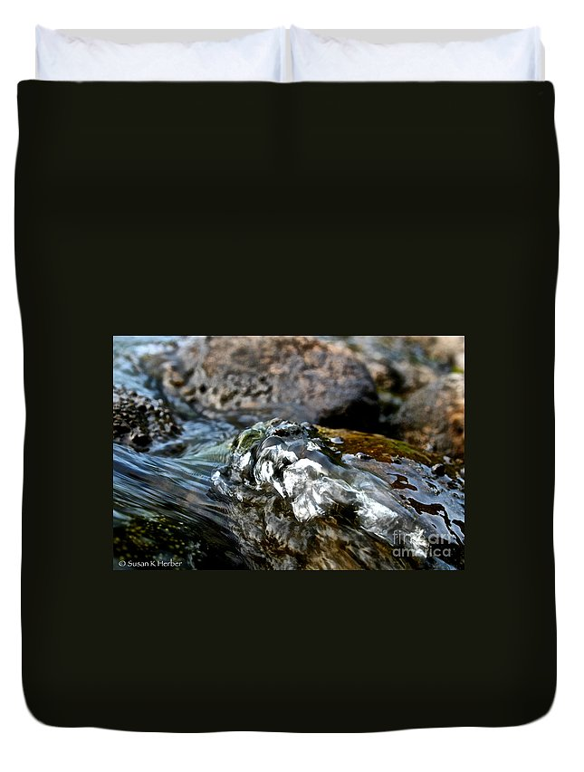 Outdoors Duvet Cover featuring the photograph River Rock by Susan Herber