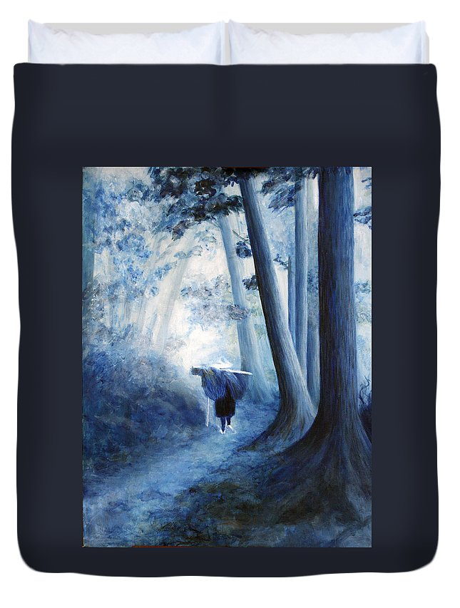 Trees Duvet Cover featuring the painting Road Home by Donna Walsh