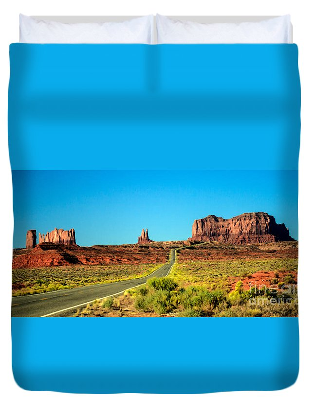 Monument Valley--navajo Duvet Cover featuring the photograph Road To Paradise by Robert Bales