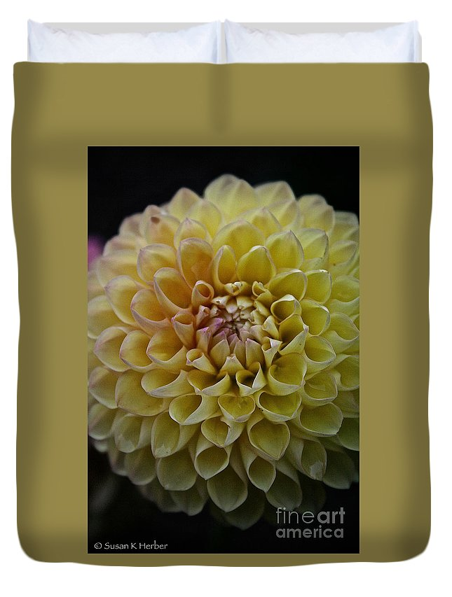 Dahlia Duvet Cover featuring the photograph Robin Hood Yellow by Susan Herber