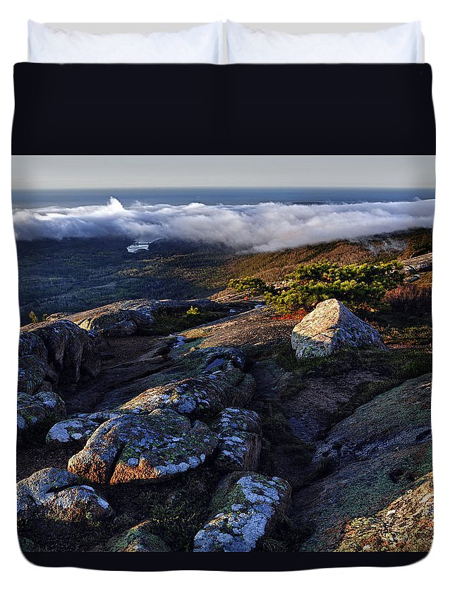 Cadillac Mountain Duvet Cover featuring the photograph Rock And Fog by Rick Berk