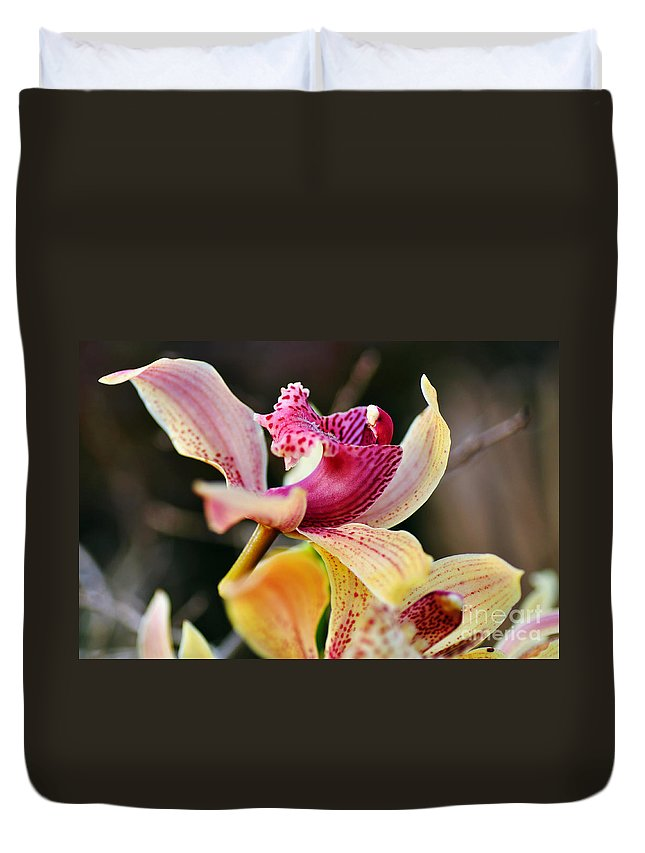Photography Duvet Cover featuring the photograph Rocking Chair Orchid by Kaye Menner