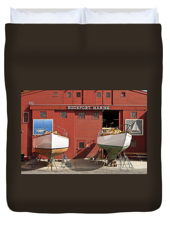 Boat Builder Duvet Cover featuring the photograph Rockport Marine by John Greim