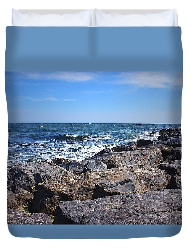 Rocks Duvet Cover featuring the photograph Rocks And The Ocean by Mikki Cucuzzo