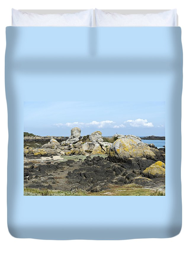 Normandy Duvet Cover featuring the photograph Rocks At Low Tide Iles Chausey by Gary Eason