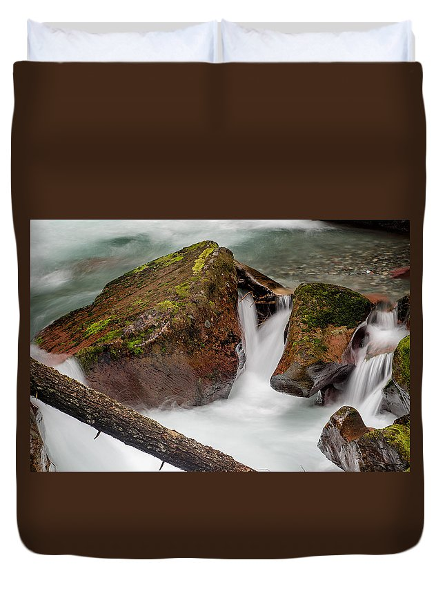 Glacier National Park Duvet Cover featuring the photograph Rocks Of Avalanche Gorge by Greg Nyquist