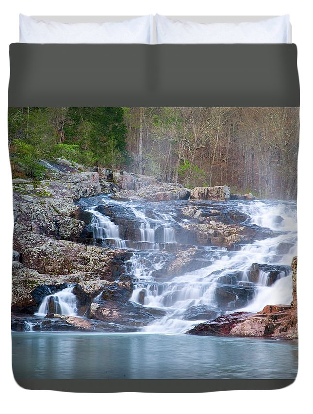 Missouri Duvet Cover featuring the photograph Rocky Falls by Steve Stuller
