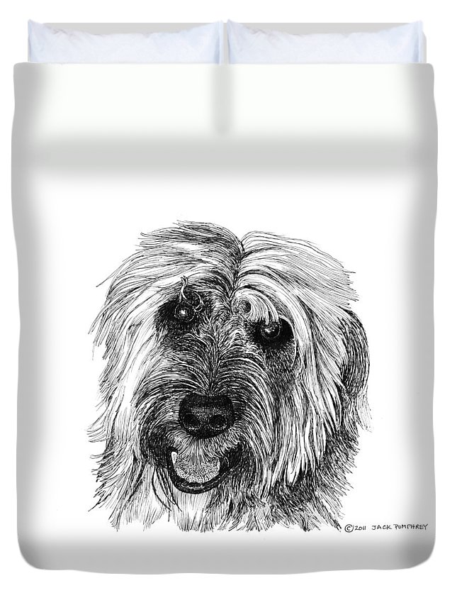 Pen And Ink Art Of Rocky Whose Owner Duvet Cover featuring the drawing Rocky by Jack Pumphrey