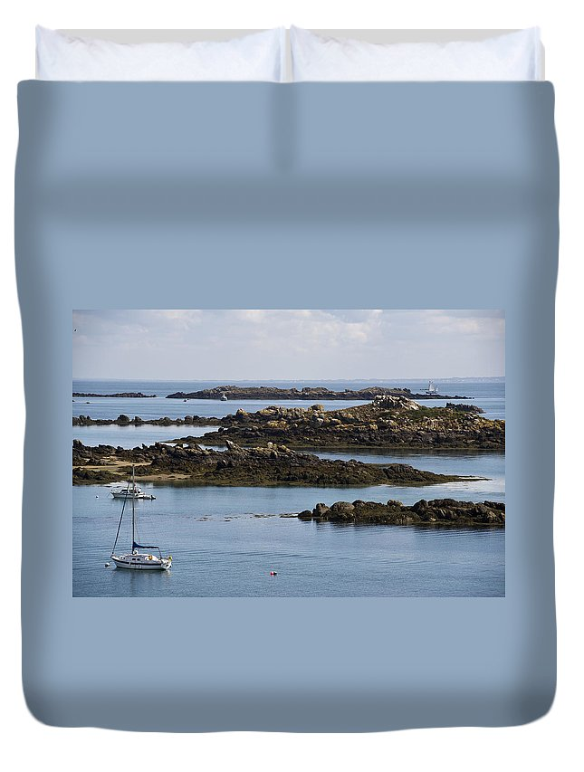 Normandy Duvet Cover featuring the photograph Rocky Moorings Iles Chausey by Gary Eason