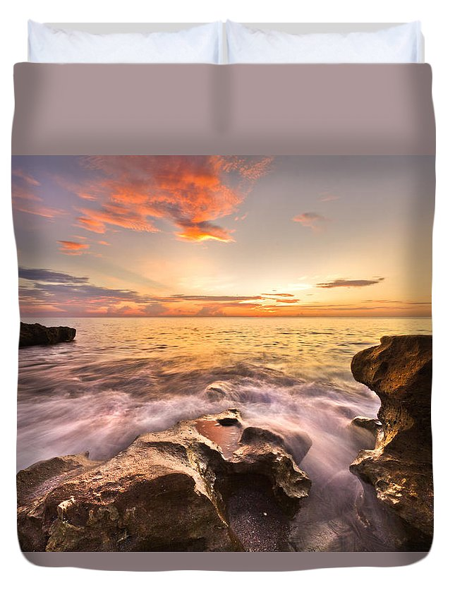 A1a Duvet Cover featuring the photograph Rocky Surf by Debra and Dave Vanderlaan