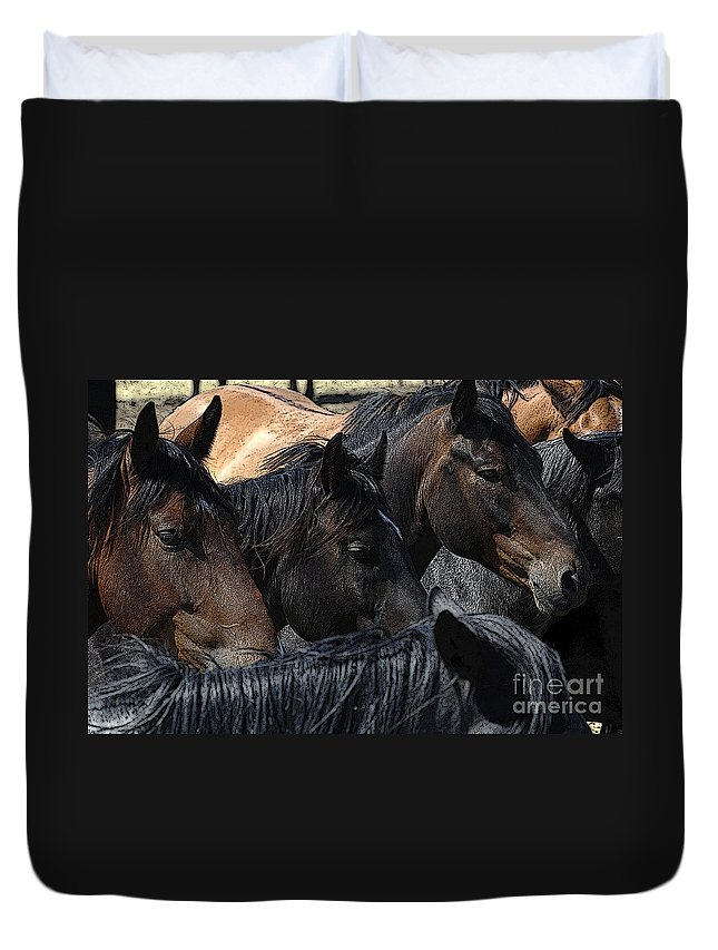 Rodeo Duvet Cover featuring the photograph Rodeo Bucking Stock by Bob Christopher