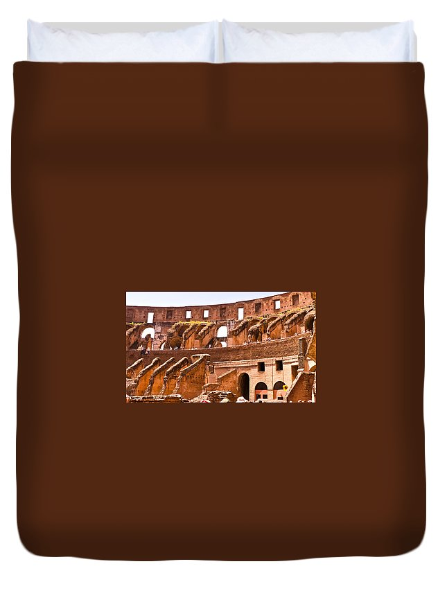 Rome Duvet Cover featuring the photograph Roman Coliseum Interior by Jon Berghoff