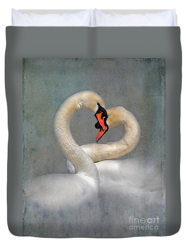Swans Duvet Cover featuring the photograph Romantic Image Of Courting Swans by Louise Heusinkveld