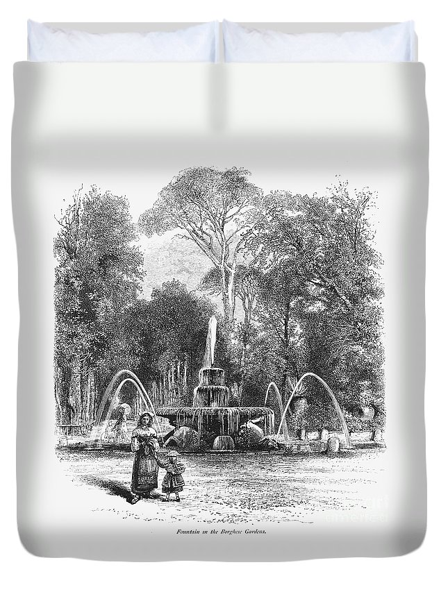19th Century Duvet Cover featuring the photograph Rome: Borghese Gardens by Granger